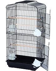 PawHut Voliera Gabbia per Uccelli Realizzata in Filo di Ferro con Vassoio 47.5 x 36 x 91cm Nero