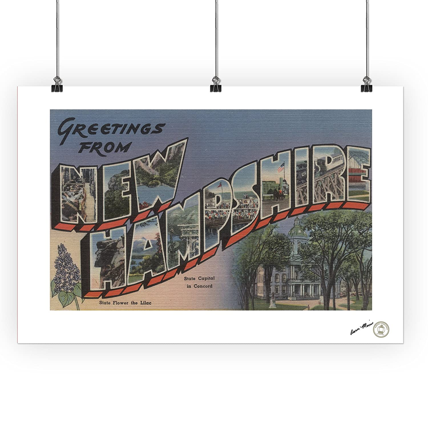 State Capital and Flower 36x54 Giclee Gallery Print, Wall Decor Travel Poster Greetings from New Hampshire