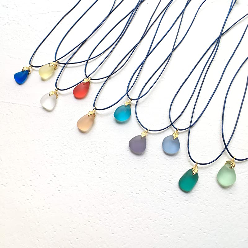 handmade top drilled sea glass pendant necklace with adjustable waxed cord chain