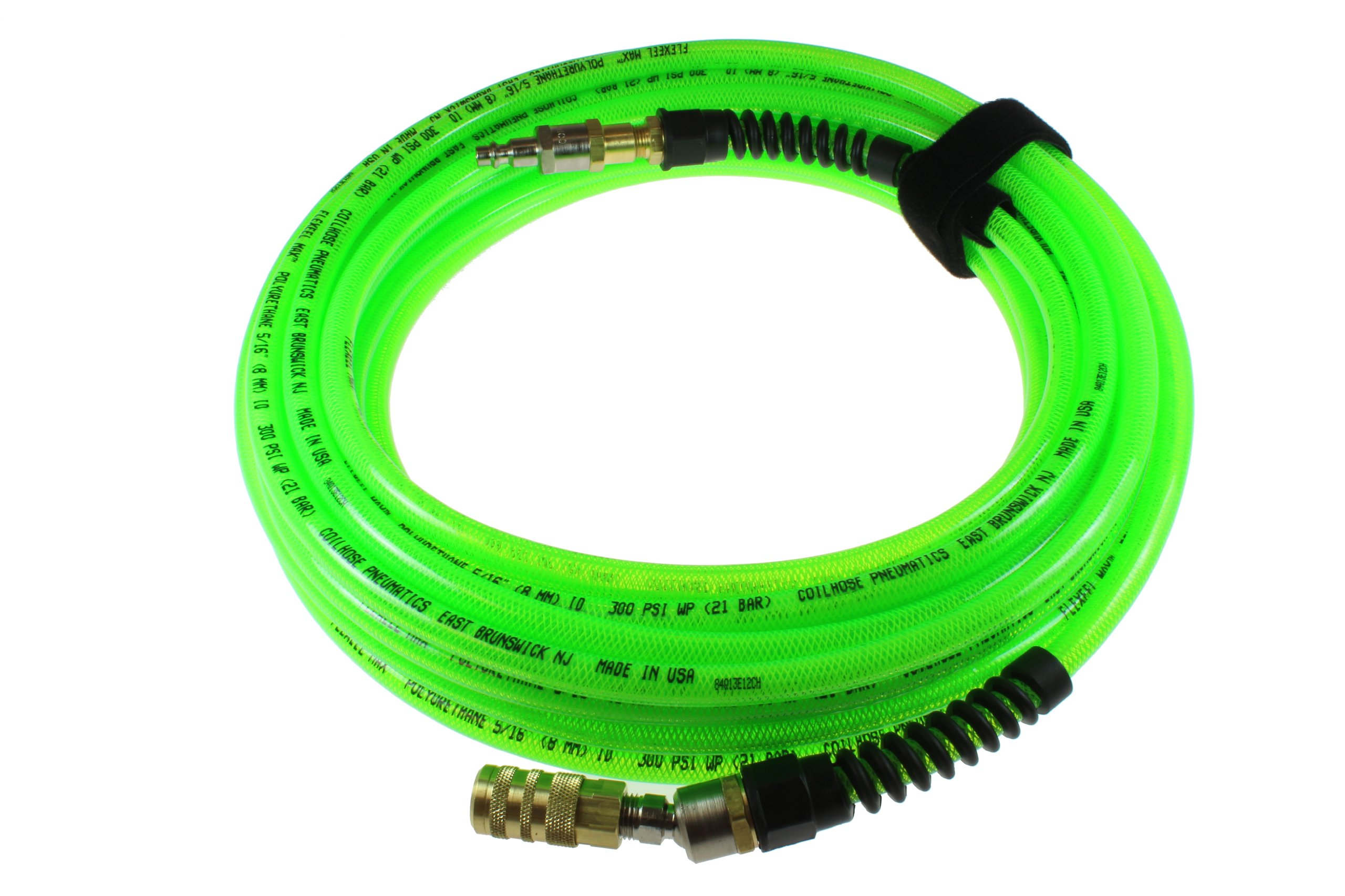 Coilhose Pneumatics PFX6100GS15XS Flexeel Max Reinforced Polyurethane Air Hose, 3/8-Inch ID, 100-Foot Length with 1/4-Inch Ball Swivel Coupler and 1/4-Inch Air Safety Plug, Industrial Interchange by Coilhose Pneumatics