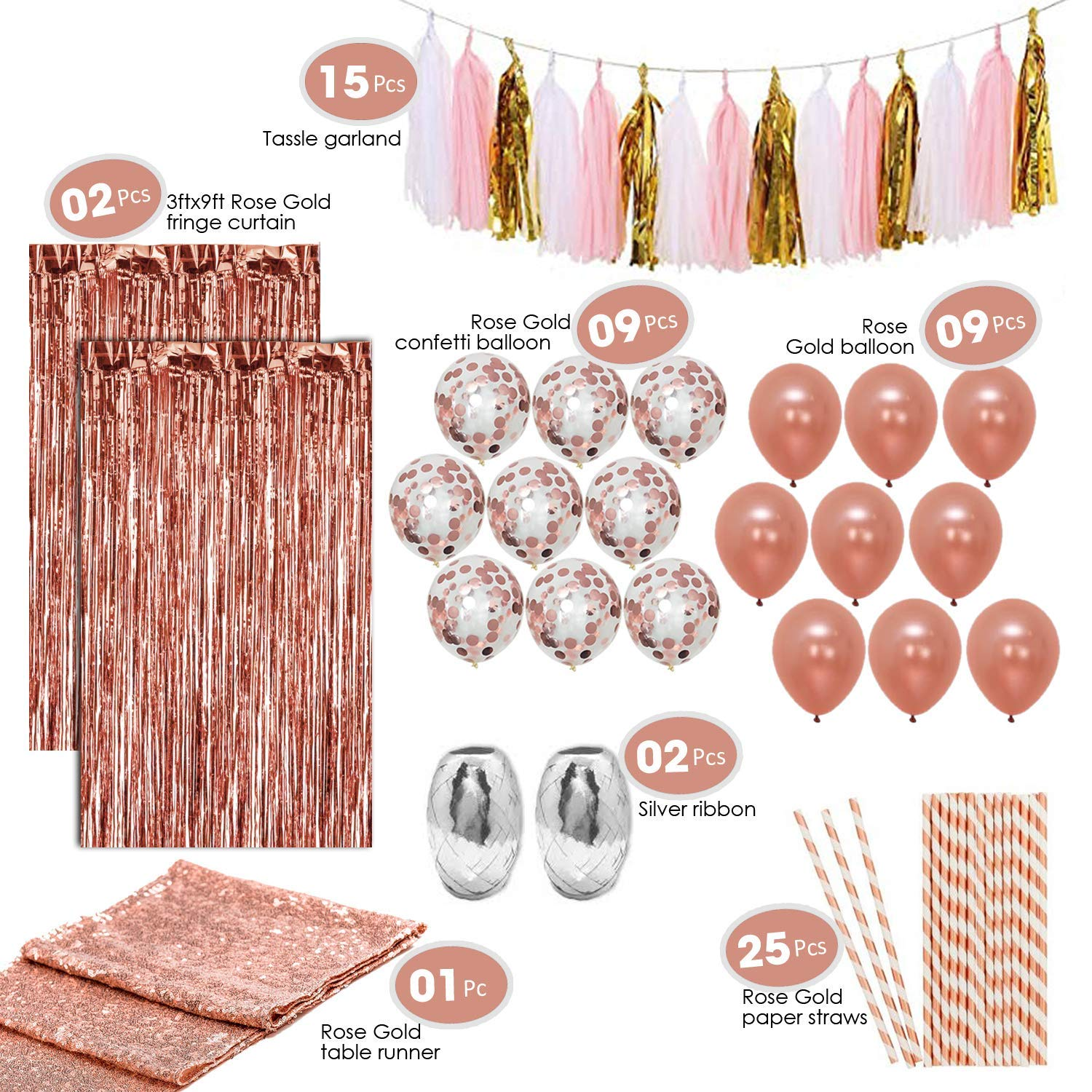 Artunique 63pc Rose Gold Party Decorations Kit   Rose Gold Latex and Confetti Balloons (18)   Sequin Table Runner (1)   Fringe Curtain (2)   Ribbon (2)   Paper Straws (25)   Tassle Garland (15) by Artunique