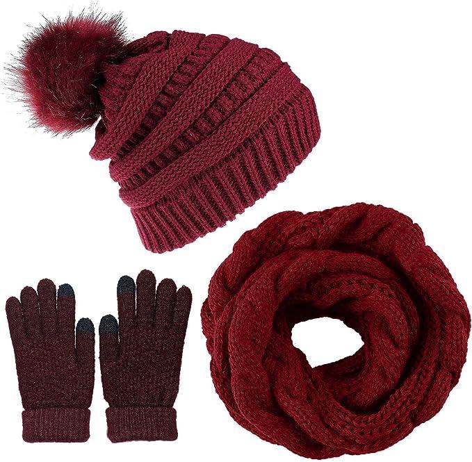 CheChury Inverno Hat Sciarpa Set Guanti Touch Screen Berretto Guanti Sciarpa Donna Guanti Cappello Sciarpa Maglia con Sciarpa Berretti in Maglia