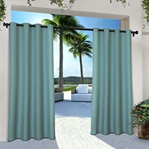 Exclusive Home Curtains Indoor/Outdoor Solid Cabana Grommet Top Curtain Panel Pair, 54x84, Teal, 2 Piece