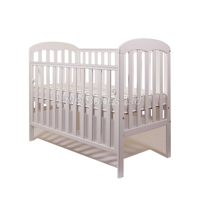 New Mia Drop Side Baby White Cot + Quality High Density Foam Mattress 120 x 60 x 10 cm Little Babes Ltd mia white + foam