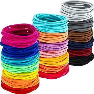 200 Pack No-metal Hair Elastics Hair Ties Ponytail Holders Hair Bands (3 mm, Multicolor)