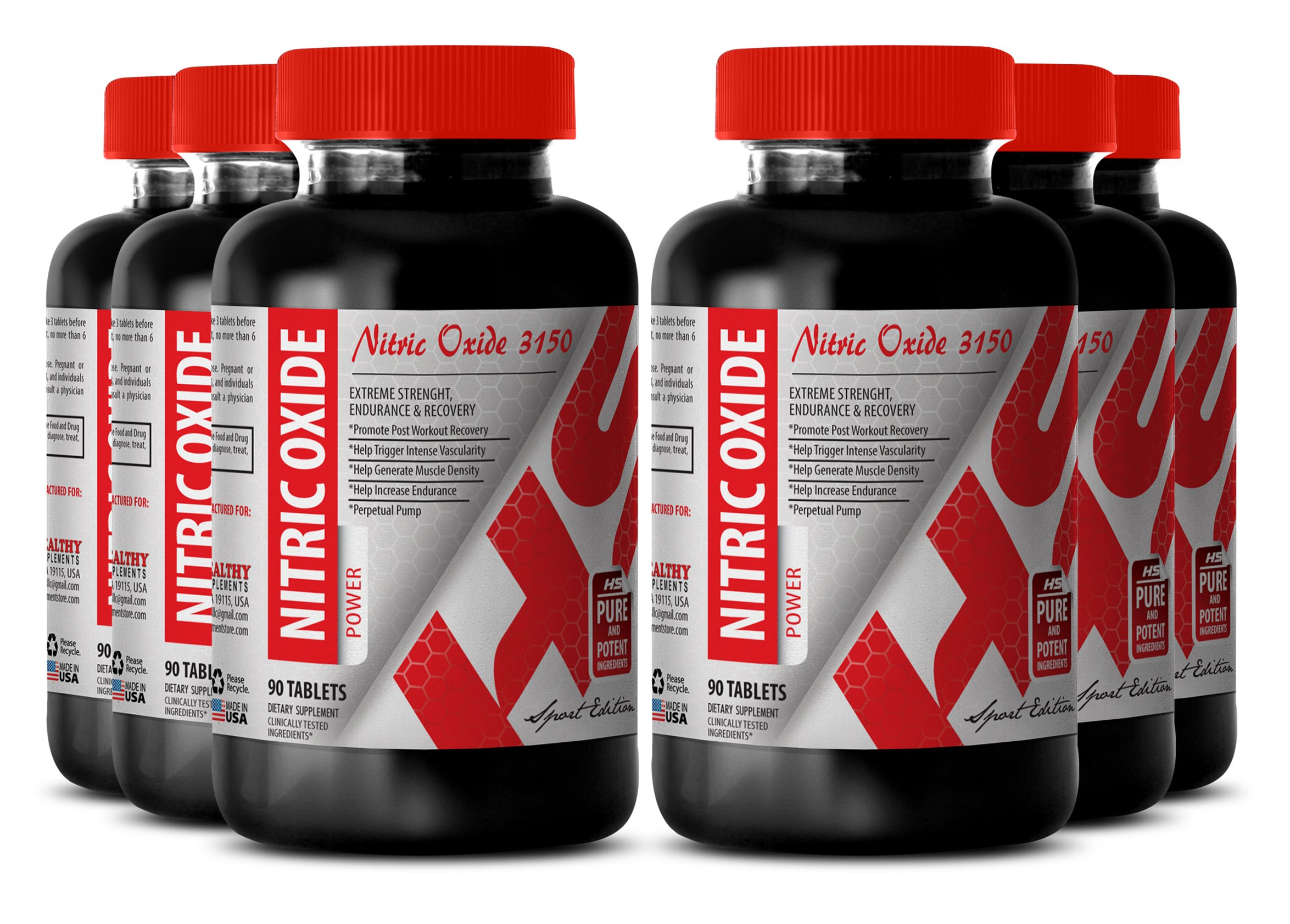 Nitric oxide formula - 3150 MG PREMIUM NITRIC OXIDE POWER - increase focus (6 Bottles)