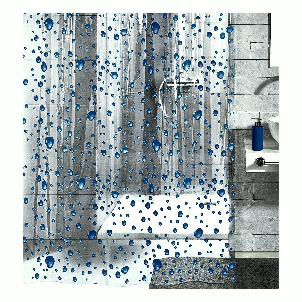 Amazon.com: PEVA Shower Curtain Liner Clear - With Dark Blue ...