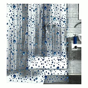 dark blue shower curtain. PEVA Shower Curtain Liner Clear  With Dark Blue Bubbles 70 9in x 78 7in Amazon com