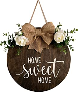 MayAvenue Home Sweet Home Wreaths Decor Sign Front Door, Round Wood Hanging Sign with Ribbon Bow and Artificial Green Leaves, Farmhouse Porch Decorations for Home Thanksgiving, Brown