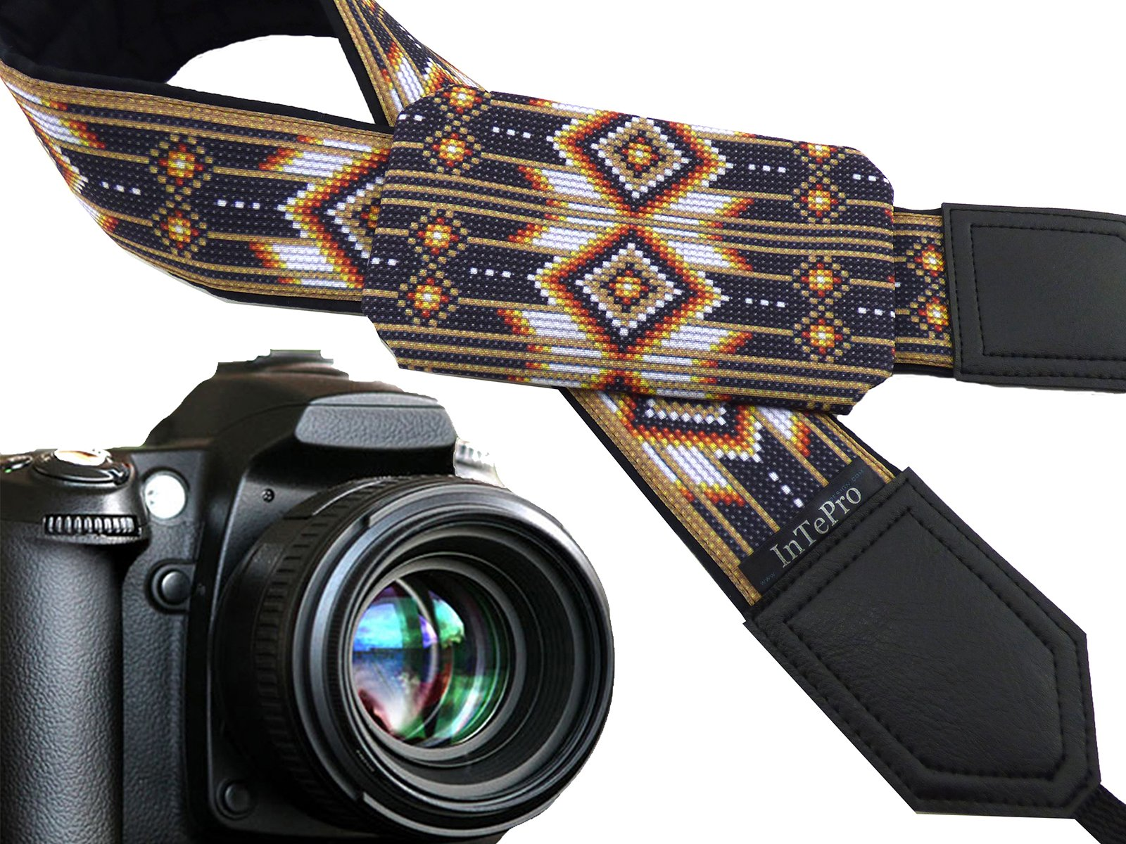 Camera Accessories. Native American Inspired Camera Strap with Pocket. Brown Camera Strap for DSLR and SLR Cameras. Unisex. Great Gift! 00373