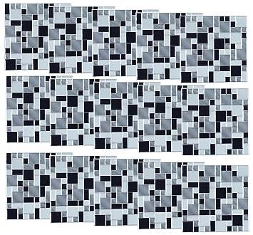 Infactory Fliesenfolie Bad: Selbstklebende 3D Mosaik Fliesenaufkleber Modern,  26x26 Cm, 15er
