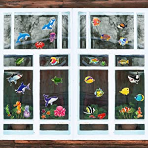 36 Pieces Ocean Life Window Clings 3D Gel Window Stickers Reusable Window Clings for Kids and Adults Sea Life, Shark, Fish, Dolphin, Whale (Ocean Life)