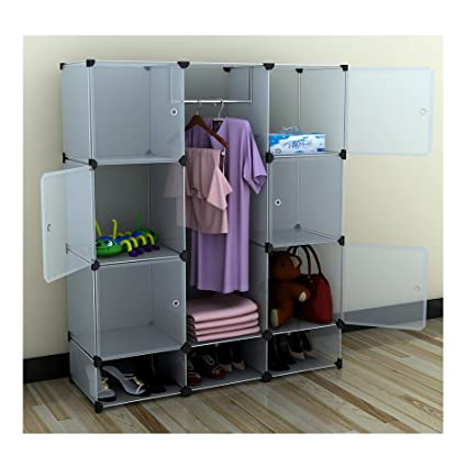 Portable Extra Wide Modular Storage Clothes Closet Organizer W/ 6 Enclosed  Cubes