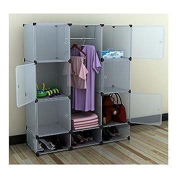 Portable Extra Wide Modular Storage Clothes Closet Organizer W/ 6 Enclosed  Cubes