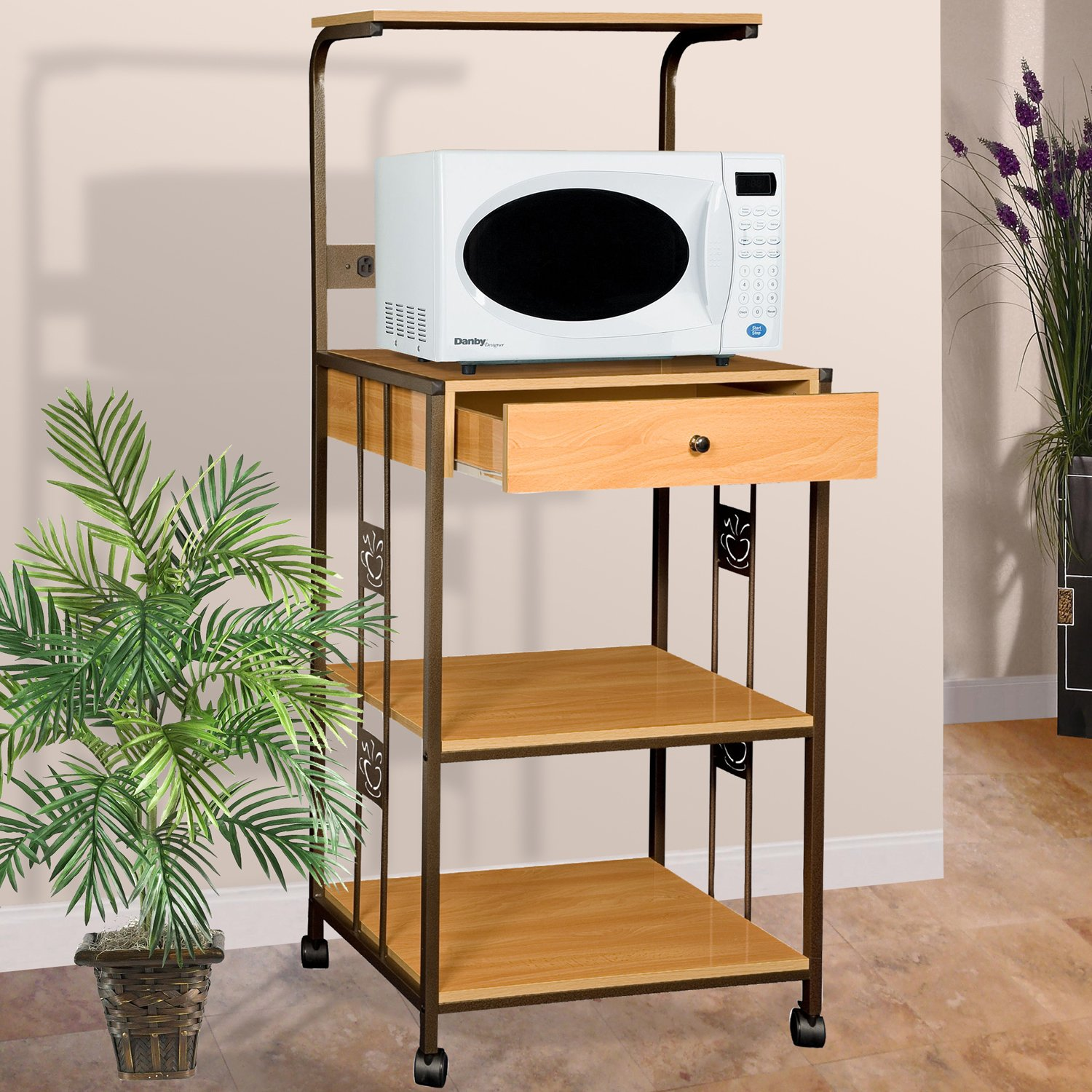 Amazon.com   Home Source Industries R0018 Beech Microwave Cart With 2  Electrical Outlets/Drawer And 2 Shelves, Beech   Bar U0026 Serving Carts