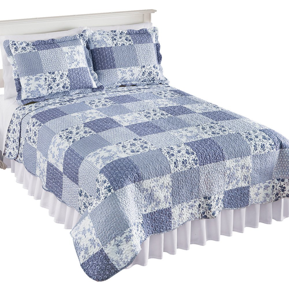 Collections Reversible Willow Floral Check Patchwork Bedding Quilt with Scalloped Edges, Blue, Twin Winston Brands