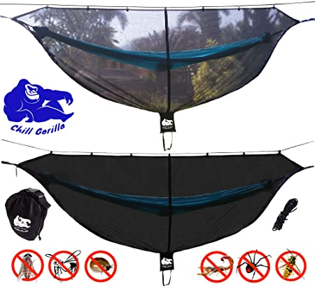 Chill Gorilla Hammock Mosquito Net Stops All Bugs Insects. Fast Easy Setup. Compact, Lightweight. Size 132 x 51 . Camping Accessories.