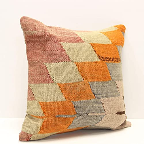 Bohemian Pillow Turkish Pillow Home Decor Pillow Vintage Handmade Kilim Pillow Anatolian Kilim Pillow Decorative Pillow 16x16 inches