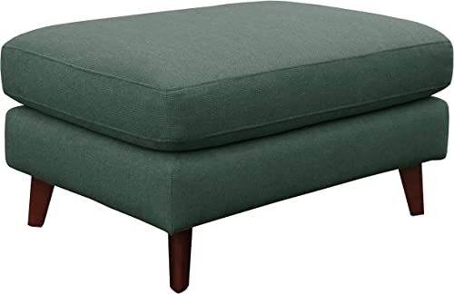 Amazon Brand Rivet Sloane Mid-Century Modern Ottoman with Tapered Legs, 31.9 W, Emerald Green