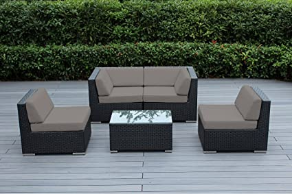 Ohana 5 Piece Outdoor Patio Wicker Furniture Conversation Set (sunbrella  Taupe)