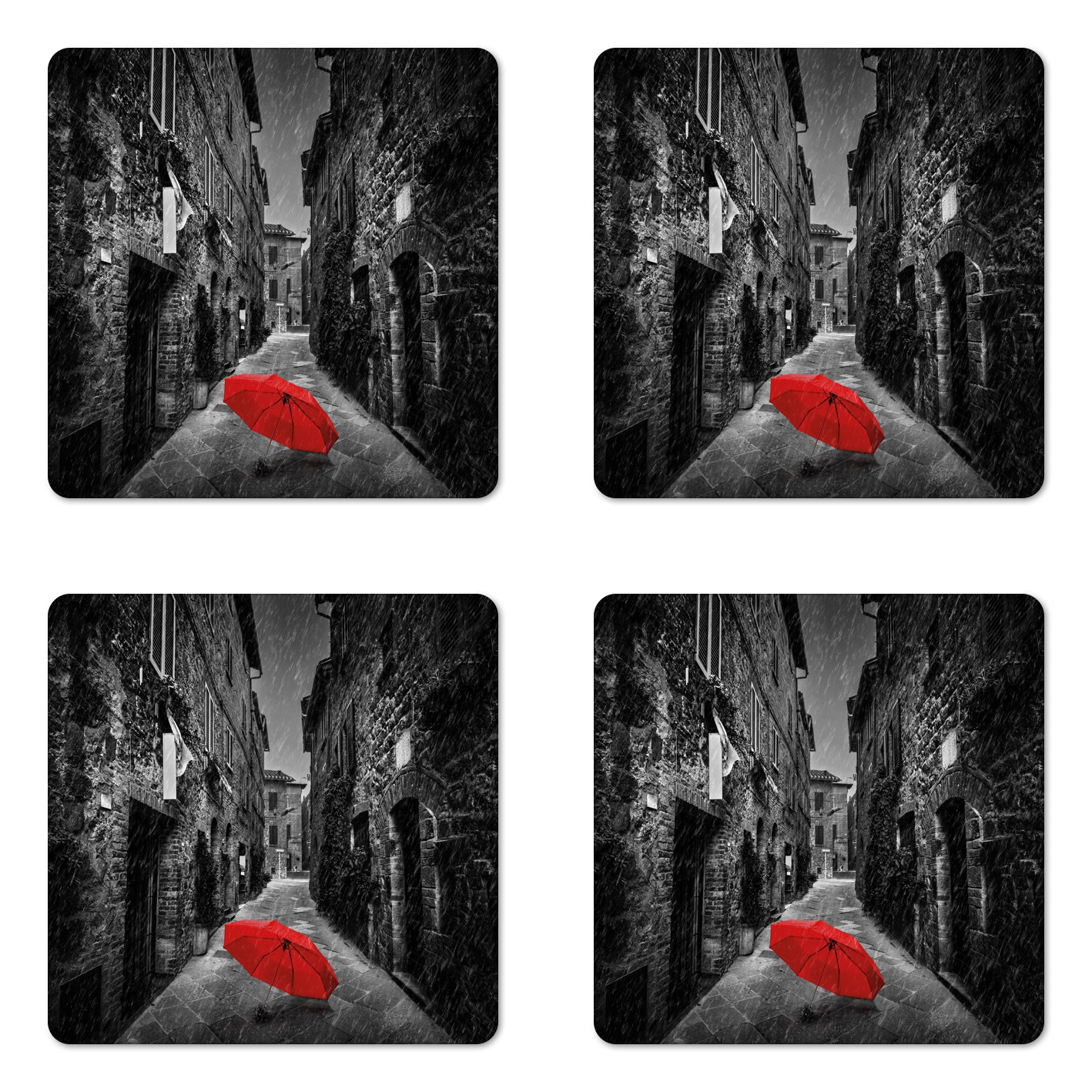 Ambesonne Black and White Coaster Set of Four, Red Umbrella on a Dark Narrow Street in Tuscany Italy Rainy Winter, Square Hardboard Gloss Coasters for Drinks, Grey Vermilion