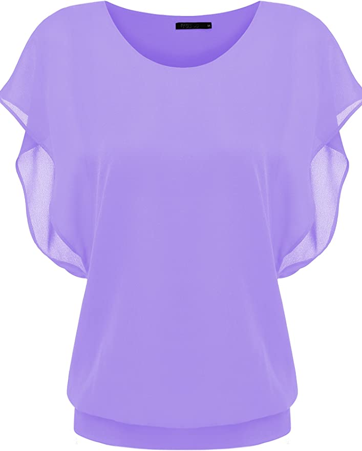 Zeagoo Women's Casual batwing Sleeve Chiffon Top T-shirt Blouse