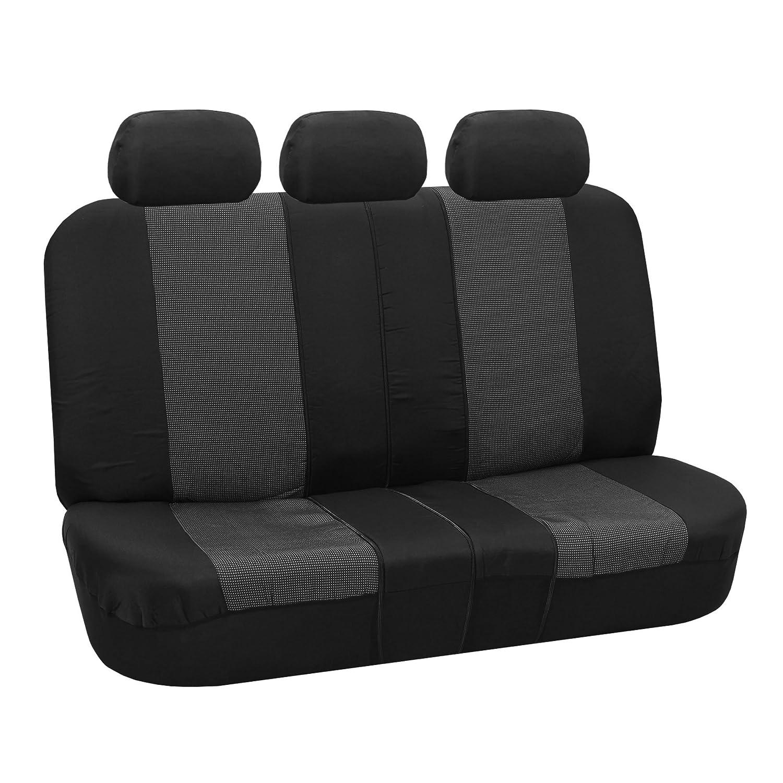 FH Group FB065BLACK115 Black Classic Khaki Car Seat Cover Full Set Airbag Ready and Split Bench