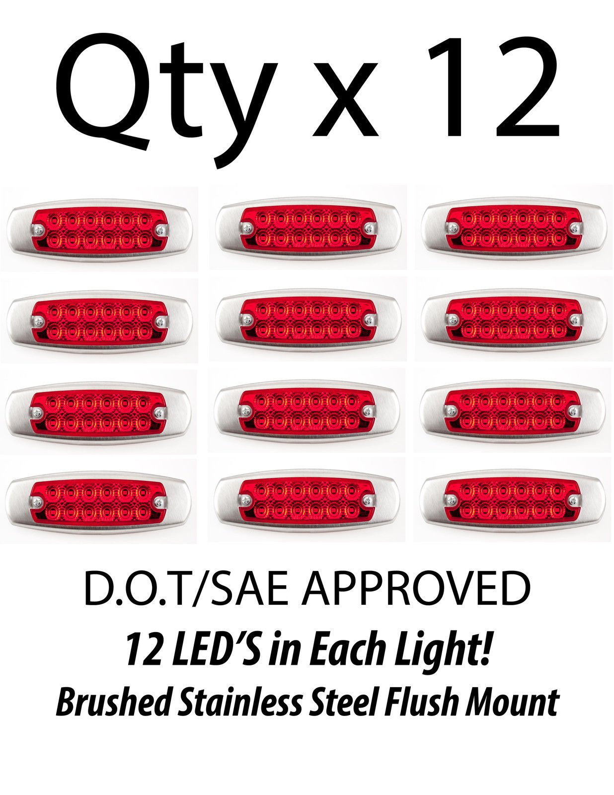 12- Red 12 LED Sealed Side Marker Clearance Rear Stop Trailer Light Fish Shape Truck Trailer 12V by All Star Truck Parts