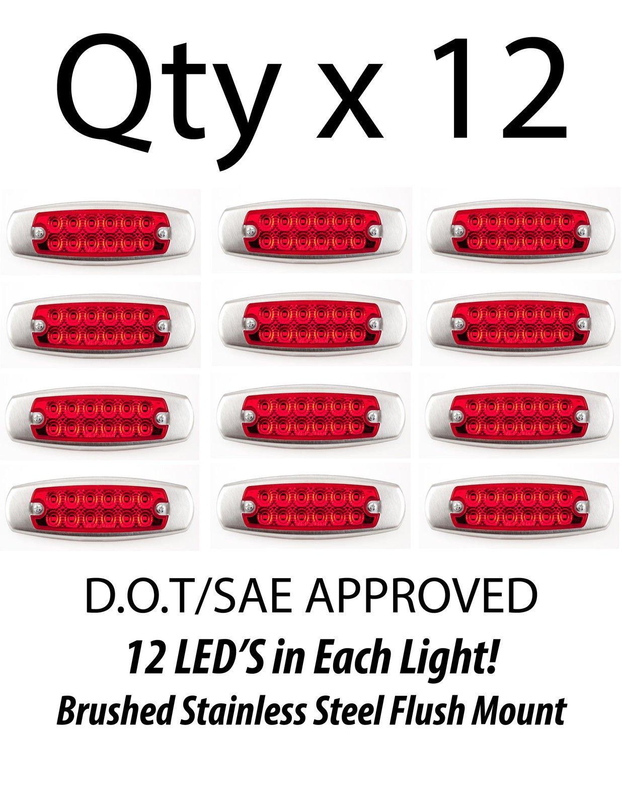 12- Red 12 LED Sealed Side Marker Clearance Rear Stop Trailer Light Fish Shape Truck Trailer 12V