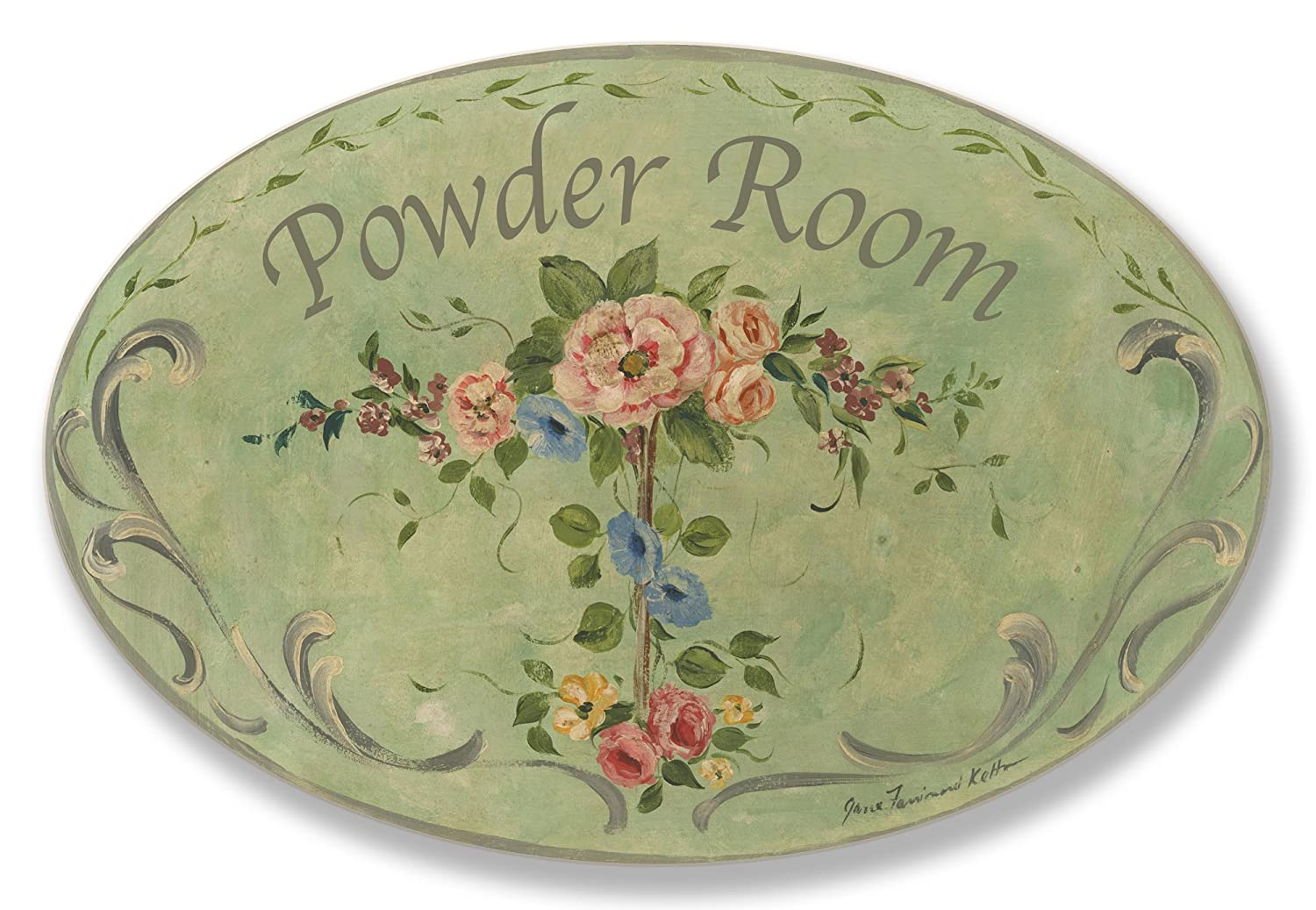 The Stupell Home Decor Collection Powder Room Green Floral Oval Bathroom Wall Plaque