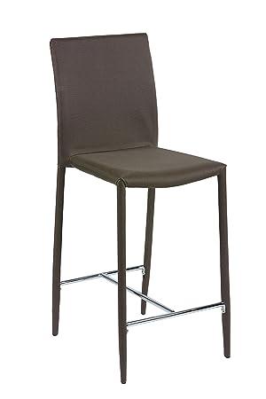MORE DESIGN Chaise Pour Table Haute Beige Metal Chrome 41 X 104 51