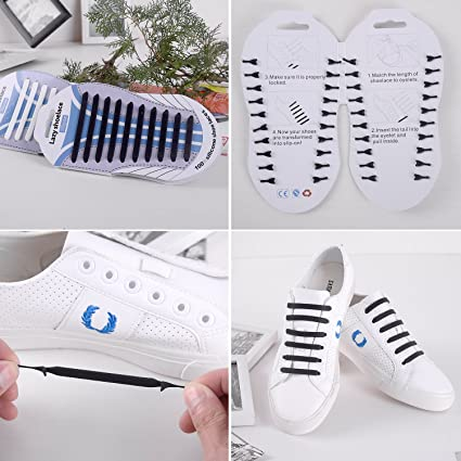 No Tie cordones, Lazy tieless silicona goma zapatillas deportivas cordones, impermeable/resistente, fácil de instalar/Off, 20/par para adultos y 12pc/par ...