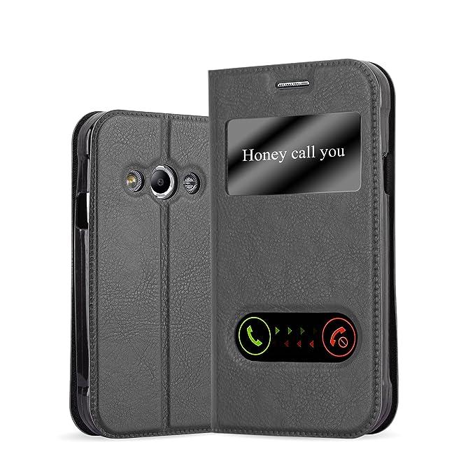 Cadorabo Hülle für Samsung Galaxy XCOVER 3 - Hülle in KOMETEN SCHWARZ – Handyhülle im Standfunktion und 2 Fenstern (View Desi
