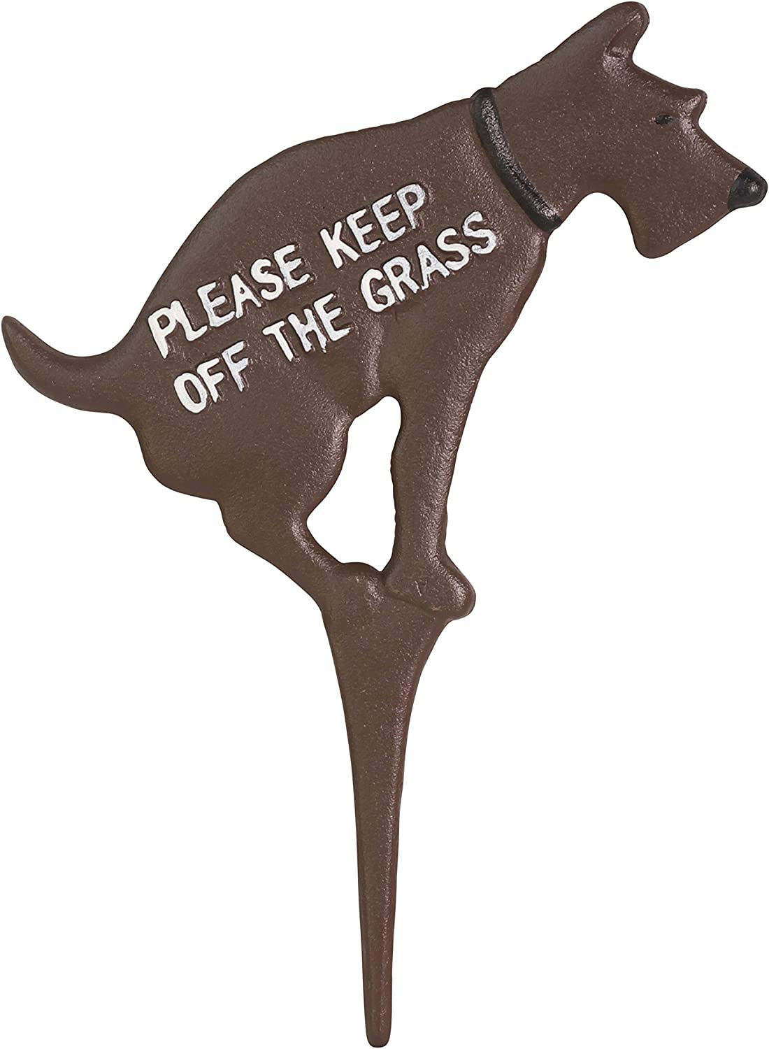 """Keep Dog Off The Grass Yard Sign No Pooping Large 8.5"""" x 12"""" Solid Cast Iron Painted on Both Sides (Brown with White Paint)"""