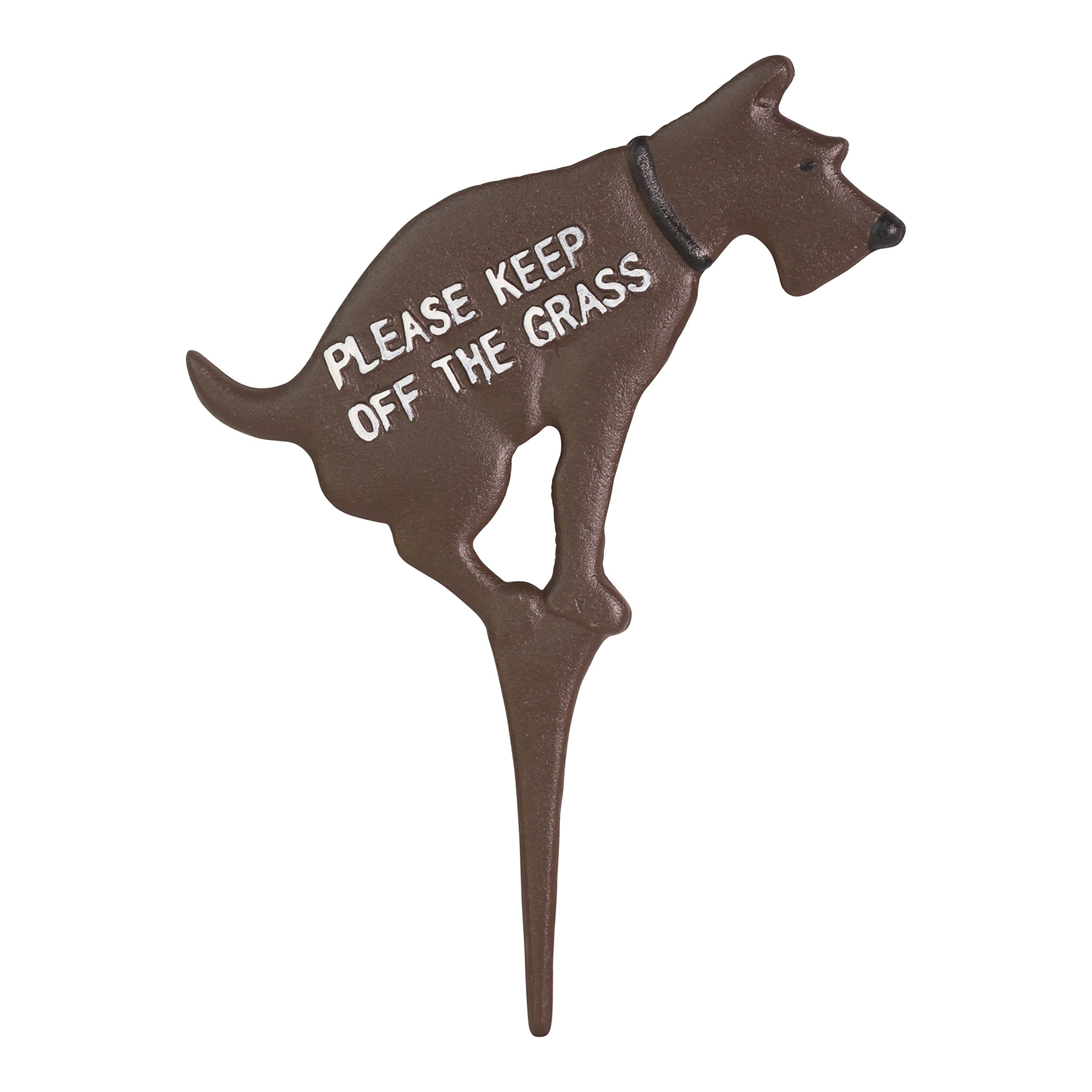 Keep Dog Off The Grass Yard Sign No Pooping Large 8.5'' x 12'' Solid Cast Iron Painted on Both Sides (Brown with White Paint)