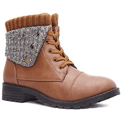 Charles Albert Combat Boots for Women with Knit Fold-Over Ankle Boots Low Heel Mid-Calf Booties   Mid-Calf