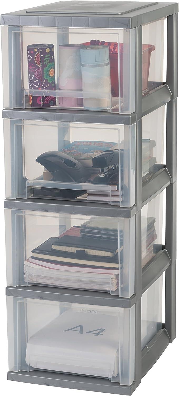 SDC-303 Smart Drawer Chest 48 L Iris Ohyama tour de rangement sur roulettes /à 3 tiroirs blanc//transparent 29 x 39 x 62 cm plastique