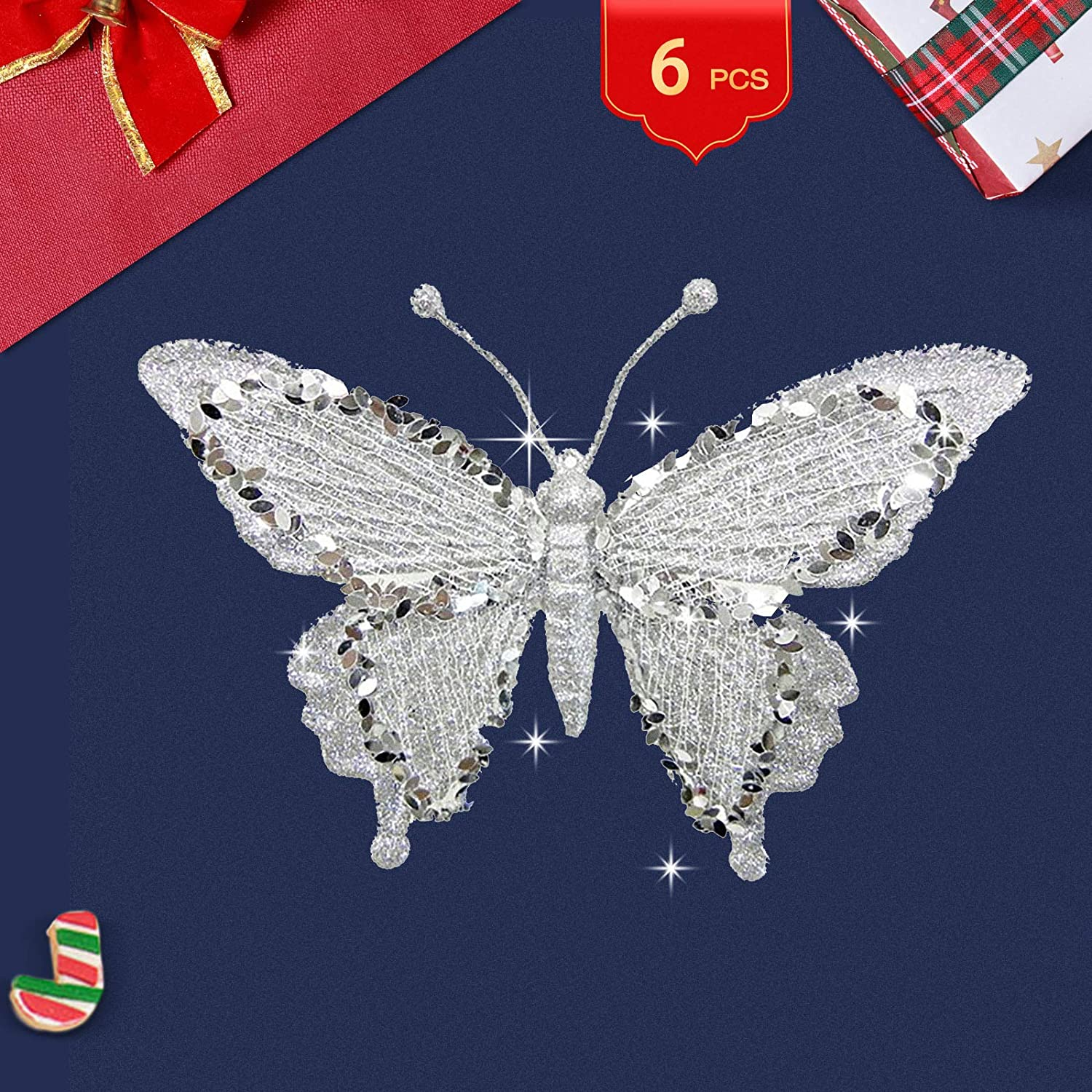 Silver Butterfly Ornaments for Christmas Tree Butterfly Ornament Glittered Butterfly Decor Butterfly Decorations Party Christmas Butterfly Ornaments for Wedding Home Christmas Wreath (6 Packs
