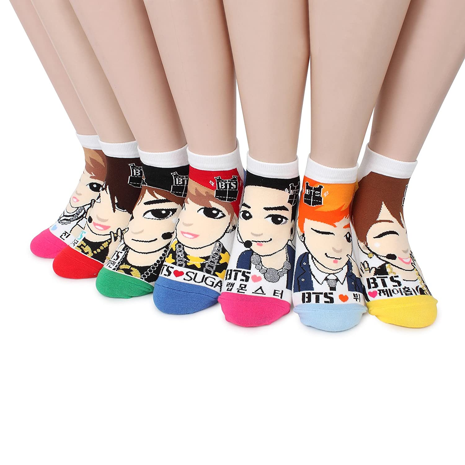 BTS K-pop Star Socks(Pack of 7pairs) NB, One Size Fits All: Women's 6-8.5