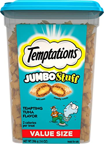 TEMPTATIONS Jumbo Stuff Crunchy and Soft Cat Treats, 14 oz. Tub