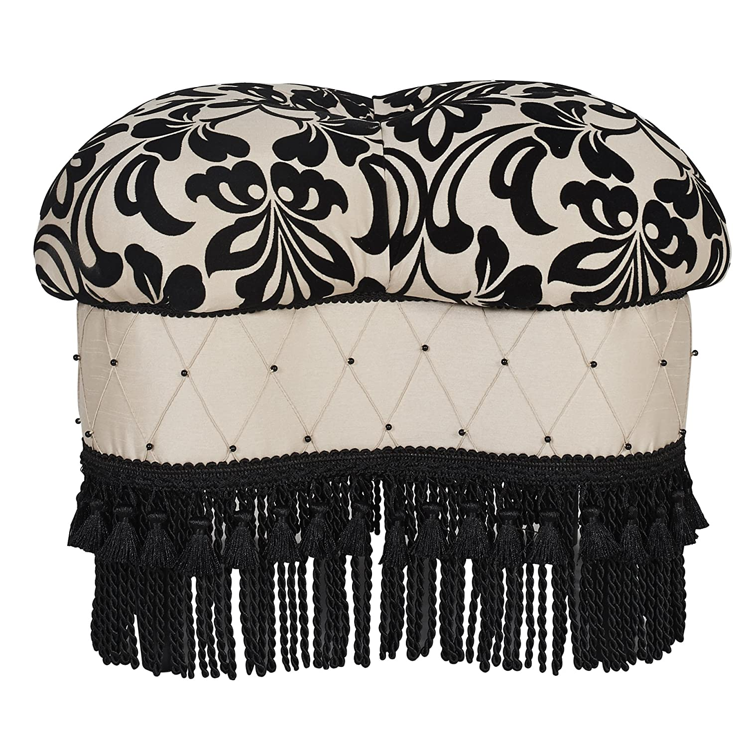 Jennifer Taylor Home Yorke Collection Gothic Design Hand Tufted, Sewn, Beading and Trim Tassels Round Luxury Ottoman, Floral Print Black White