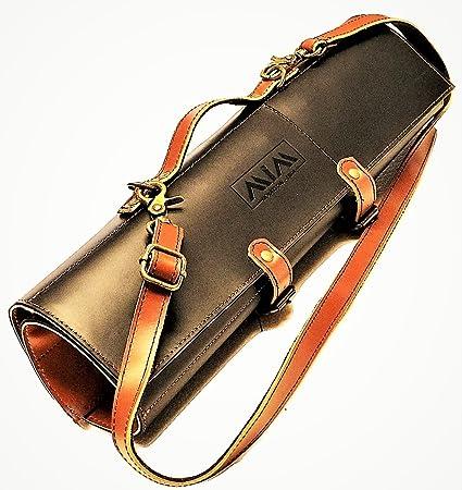 af945682c16 MiM Houston Chef Knife Roll - Leather Knife Bag - Stylish Knife Case with  Adjust