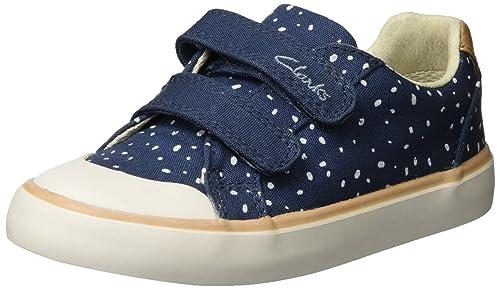 Clarks Comic Cool, Sneakers Basses Fille, Bleu (Navy), 27 EU