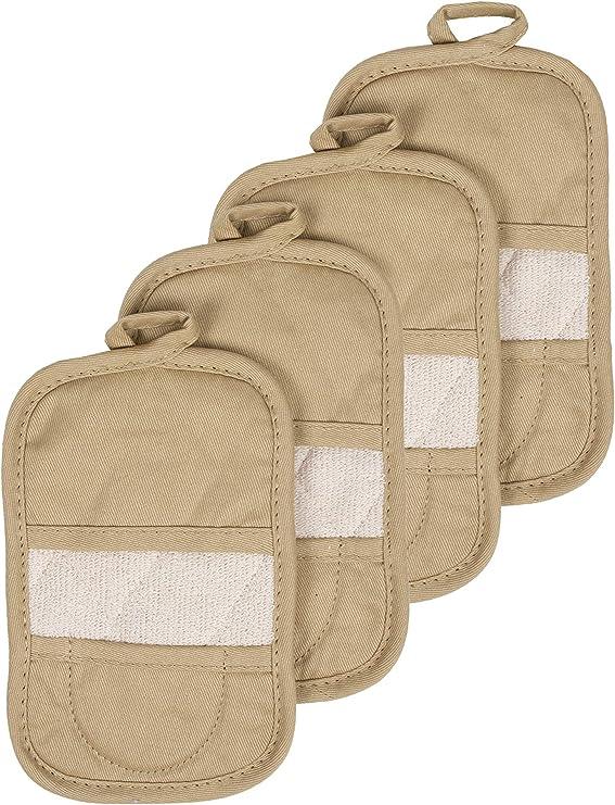 Le Creuset Set Of 2 Fingertip Hot Pot Holders 100/% Cotton Canvas /& Toweling Red