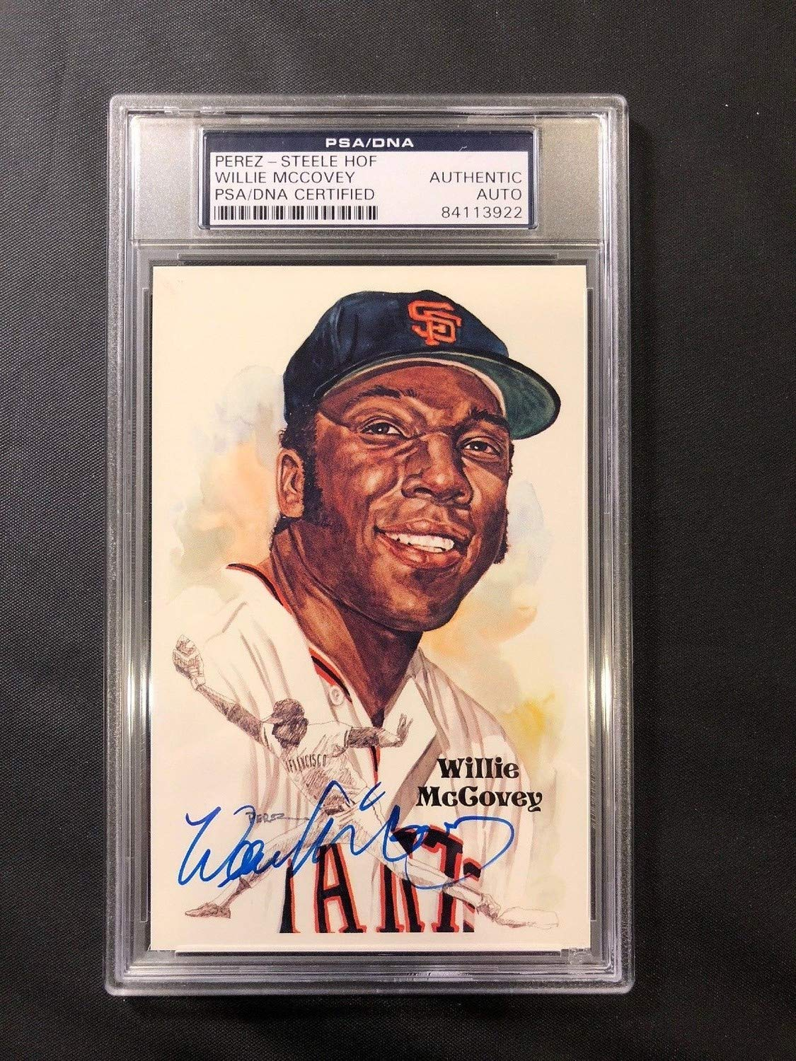Willie Mccovey Perez Steele HOF Slabbed Autographed Signed Postcard PSA/DNA Authentic Certied