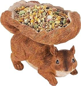 JORAE Woodland Squirrel Birdfeeder Outdoor Lawn Garden Patio Statues Yard Decorations Indoor Figurines Birds Feeder Home Decor Sculpture Brown, Polyresin