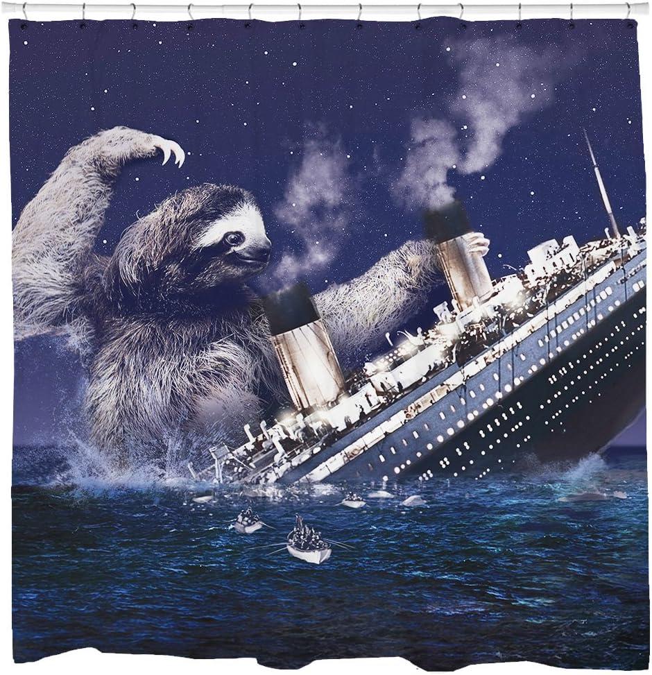 Sharp Shirter Hilarious Shower Curtain Set Ocean Theme Bathroom Decor Sloth Sinking Titanic Navy Fabric 71x74 Hooks Included