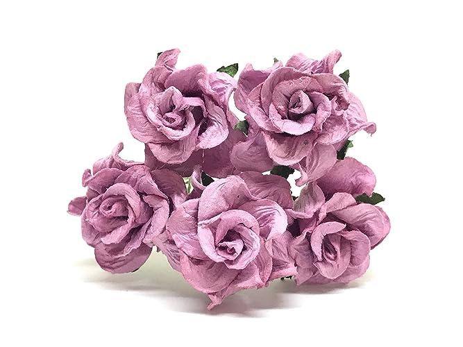 Amazon.com: 3.5cm Purple Mulberry Paper Flowers Purple Wedding DIY ...