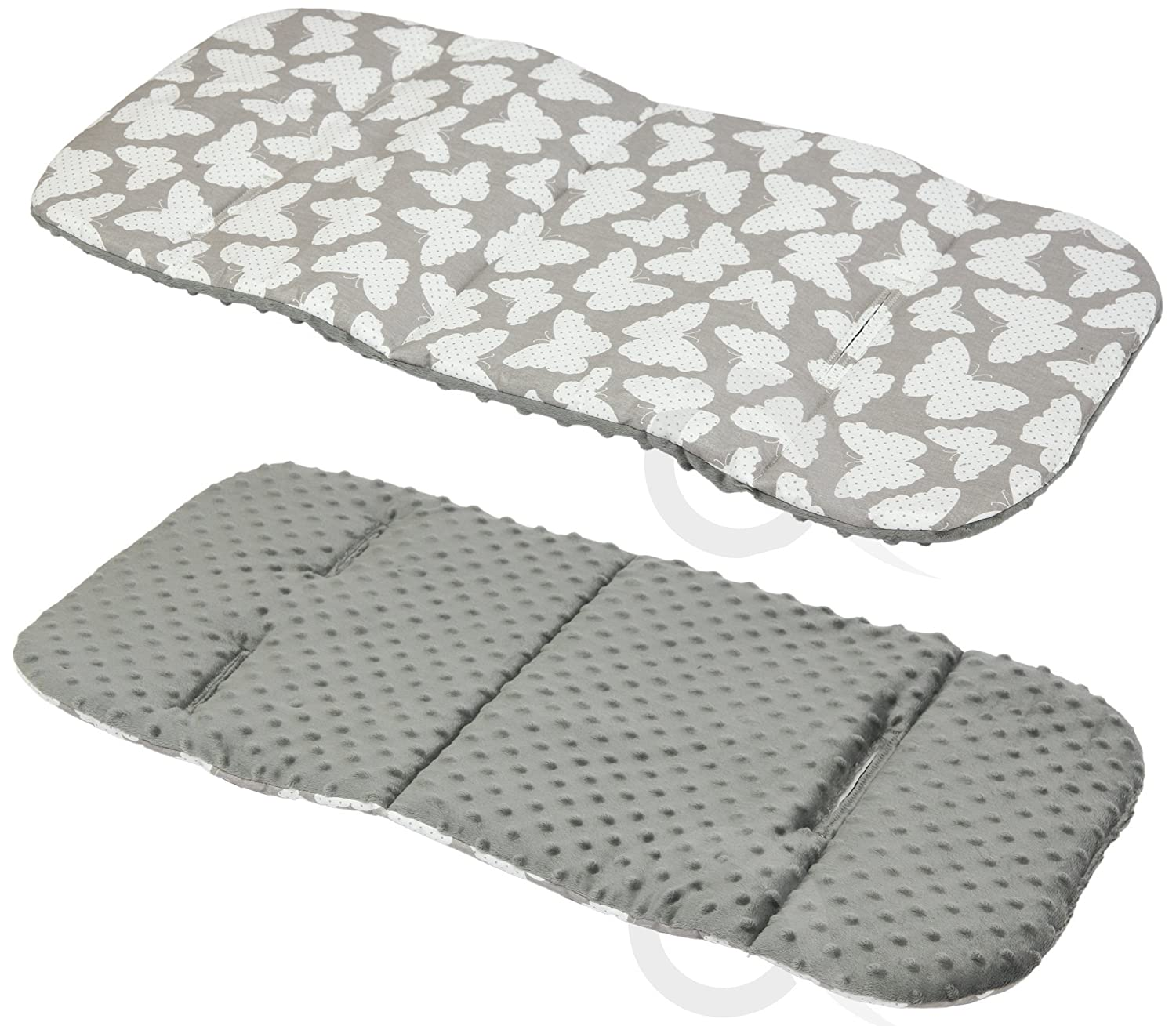 REVERSIBLE cotton & minky Pram INSERT, LINER covers Universal ( butterfly / grey ) olobaby