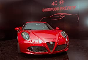 """Alfa Romeo 4C Goodwood Festival of Speed (2013) Car Art Poster Print on 10 mil Archival Satin Paper Red Front Closeup Static View 36""""x24"""""""